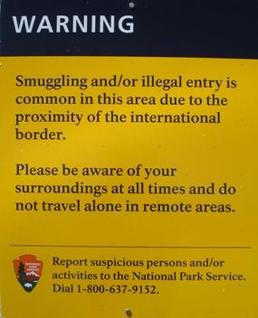 Illegal Activity Warning Sign at Coronado National Memorial